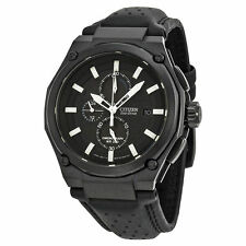Citizen Sport Eco-drive Chronograph Black Dial Black IP Steel Mens Watch