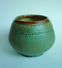Vintage Handcrafted Studio Art Pottery Tenmoku Glaze Bowl Vessel - Marked!