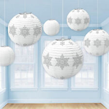 6 Snowflake Paper Lanterns white & Silver Frozen party / Christmas Decoration