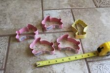 Lot of 5 Metal Cookie Cutters Easter Holiday pink bunny rabbit flower crafts