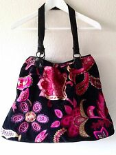 Black Velvet Boho Tote Shoulder Bag MultiColor Paisley Crewel Embroidery 70s Hip