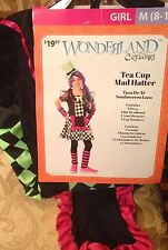 NWT Girls Mad Hatters Tea Party Costume/Fancy Dress Outfit Size M Age 8-10