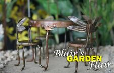 DRAGONFLY TABLE & CHAIRS MINIATURE Fairy - Gnome Garden, HOBBY + FREE Clay Pots
