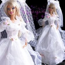 High-Quanlity white Barbie Wedding dress Fit for Barbie&Disney Doll&1