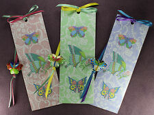 3 BUTTERFLY TOTEM BOOKMARKS Enamel Beads Ribbons Green Blue Pink Insect Psyche