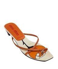Miu Miu Vintage Orange Leather Sandals, Size 38.5
