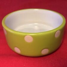 "Hamster Bowl Pot GREEN Polka Dot 3"" Round Dish Water Food Seed Treats Mice Rat"