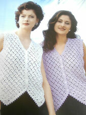 "Original NARVIK Crochet Pattern N875 - Ladies Crochet DK Waistcoat - 30""-40"""
