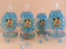 12 Baby Mickey Mouse Fillable Bottles Baby Shower Favors Prizes ~Boy Decorations