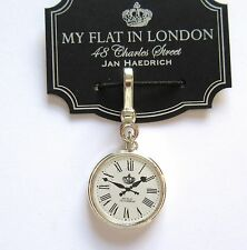 Brighton My flat In London LONDON TIME  charm-silver white clock Roman numerals
