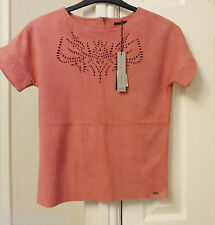 IKKS Women's Genuine Leather Top Salmon Pink New BNWT 34""