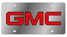 New GMC Red Logo Stainless Steel License Plate
