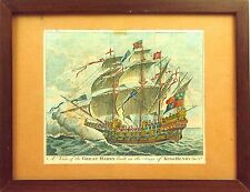 I2-013. BOAT THE GREAT HARRY. ENGRAVING HAND COLORED. 18TH CENTURY. ENGLAND.