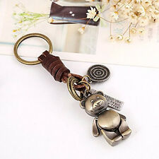 12CM Alloy Bear Keyrings Button Retro Small Gift Women Leather Key Chain