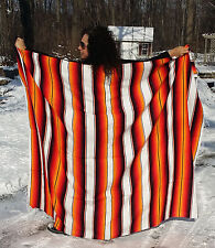 "Mexican Serape Sarape Fringed Blanket Bedspread 84"" x 60"" Orange White Fire Ice"