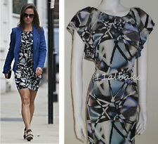 BNWT WAREHOUSE Pura Seda Abstracto Multi Estampado Vestido Talla UK6 Aso