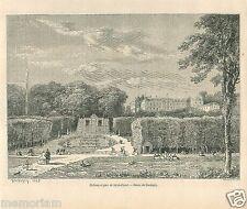 Paysage Château Parc de Saint-Cloud Edmé-François Daubigny GRAVURE PRINT 1866