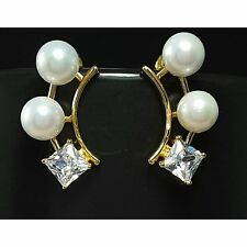 Pearl & Cubic Zirconia 18Ct Yellow Gold Plated Stud Earrings UK