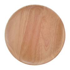 """Natural Wood Plate Rubber Trees Wooden Round Dish 10"""" / Serving Food or Dessert"""