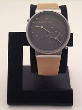 SKAGEN MEN'S ANCHOR DUAL-TIME TAN LEATHER WATCH SKW6190
