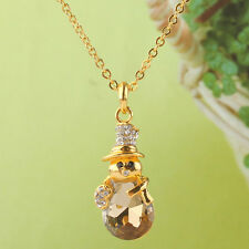 14k Gold Filled Austrian Crystal Champagne Topaz Snowman Pendant Necklace ND0508