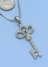 Clear Ornate Flower Skeleton Key Pendant Necklace Silver Tone Clear Stone Women