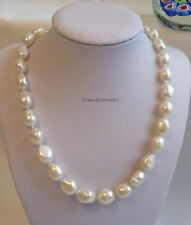 Genuine 11-12mm 4A Outstanding Baroque freshwater pearl  necklace PB01
