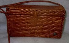 Vintage ~ Helen Kaminski Straw Box Square Style Brown Purse AUTHENTIC