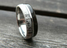 Stainless Steel Ring with Deer Antler and Ebony Wood, Wedding, Engagement Ring