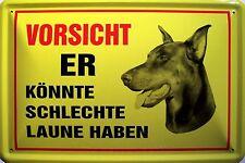 Hund mit schlechter Laune Blechschild Schild Blech Metall Tin Sign 20 x 30 cm