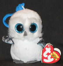 TY BEANIE BOOS - SPELLS the SNOW OWL  KEY CLIP - MINT with MINT TAGS SPARKLY EYE