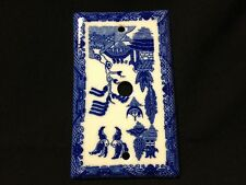 Blue Willow Porcelain Cord Cable Plate Cover
