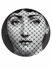 Magnificent Fornasetti Lina Black & White Face Behind Net Plate NIB Italy