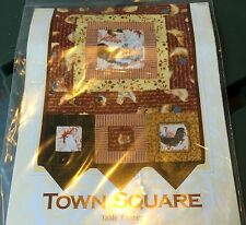"""TOWN SQUARE Quilt Pattern Table Runner w Prairie Points 12.5"""" X 50"""" Craft Sewing"""