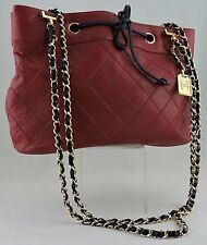 AUTHENTIC CHANEL BAG TOTE HANDBAG RED NAVY BLUE LEATHER GOLD CHAIN CC RARE