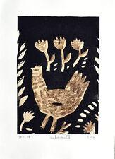 nabARus 141216-5 Pointe sèche/linogravure 9x13 sur papier 13x18 cm Art Singulier