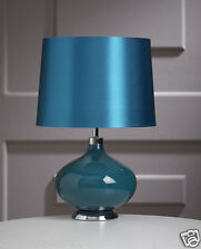 Contemporary Teal Ceramic Marilyn Round Base Table Lamp – 42cm Height