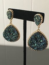 Dangle Drop stud earrings Women's Gold Plated Green Blue Drusy Druzy Iridescent