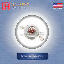 5Pcs 5W Watt High Power Deep Red 640-660nm LED Diodes Lamp Beads Bulb Chip