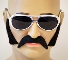 Fake Black MOUSTACHE, SIDEBURNS AND GLASSES SET. Elvis- Freddie Mercury-70's