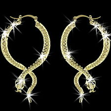 "3.75"" Diamond Cut  SNAKE Black Crystal SEXY Hoop Dangle Drop Earrings Gold gp"