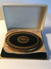 Vintage Richard HUDNUT DUO TWIN Rouge Powder Oval Black Enamel Gold COMPACT NEW