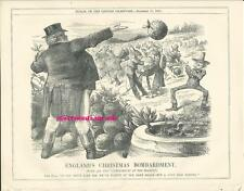 1870 Punch Cartoon America Threatens War With England Over Alabama and Fisheries