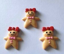 3 x Resin Christmas Gingerbread Woman Flatback Resins Embellishments Cabochon