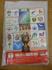 01/10/1999 Rugby Union Programme: World Cup - Wales v Argentina [At Cardiff Arms