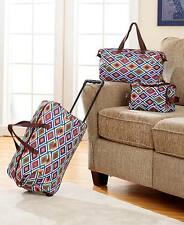 3 Pc Fashion Luggage Set GEOMETRIC Rolling Suitcase Duffel Tote Bag & Clutch
