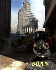 9/11 FIREMAN AT WORLD TRADE CENTER RUINS 8X10 PHOTO