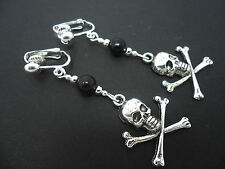 A PAIR OF  TIBETAN SILVER DANGLY SKULL AND CROSSBONES  CLIP ON EARRINGS. NEW.