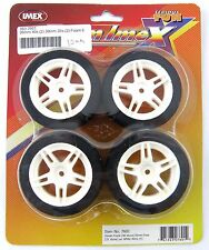 26mm Front & 30mm Rear Foam RC Tires on White Rims (Set of 4) - IMEX #7601