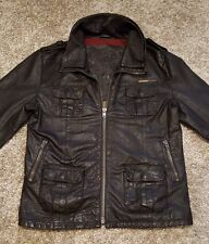 Mens Superdry Brad Leather Jacket in excellent condition Dark Brown Size XL